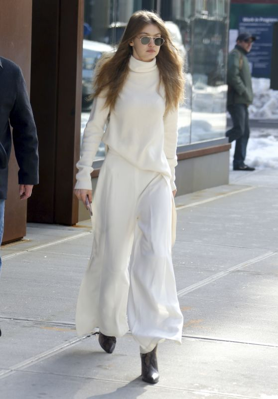Gigi Hadid in All White - Out in NYC 3/16/ 2017
