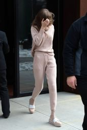 Gigi Hadid in Pink - Leaves Her Apartment in NY 3/18/ 2017