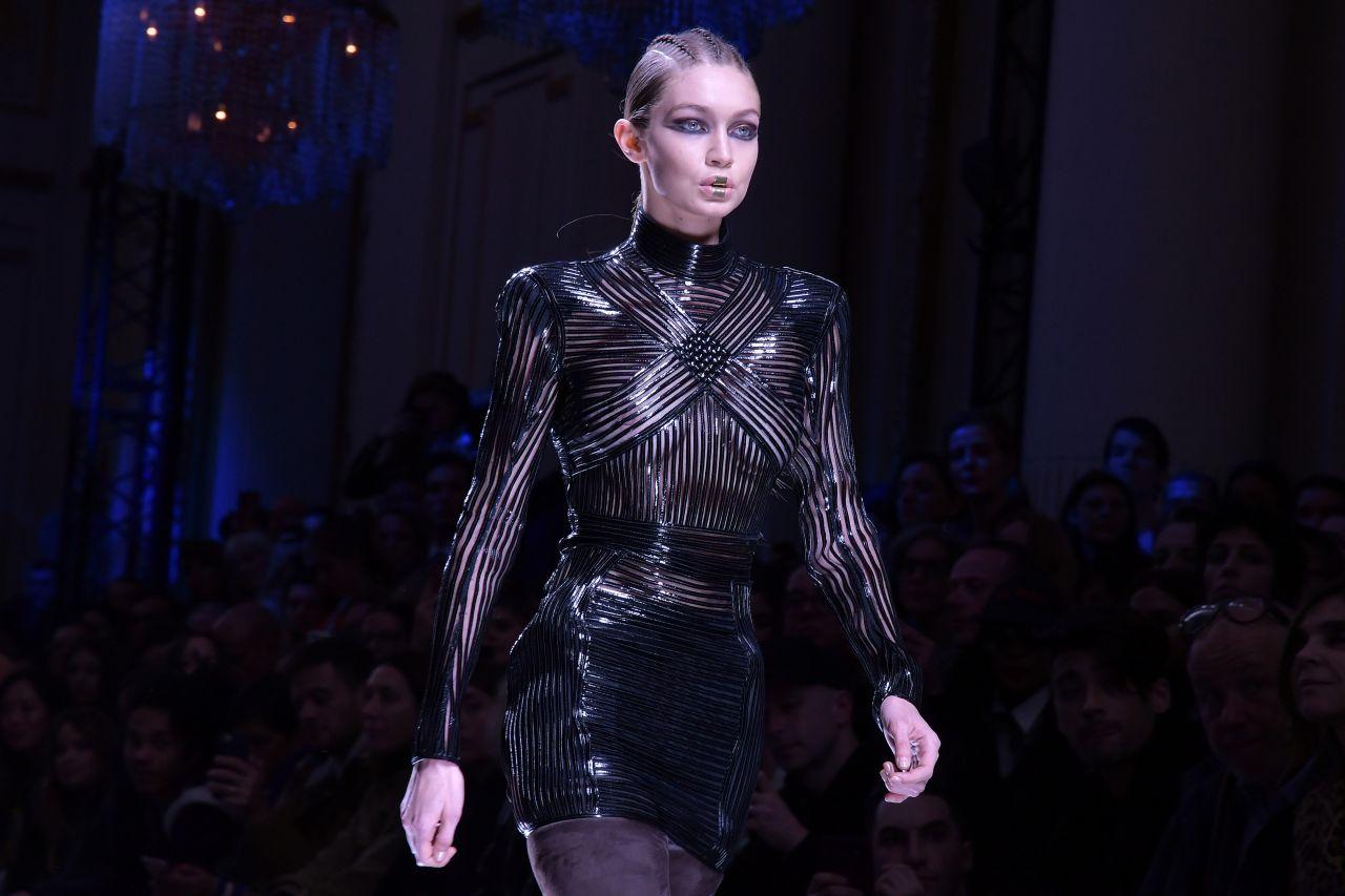 Gigi hadid walks balmain show at paris fashion week 3 2 2017 for Gigi hadid fashion week