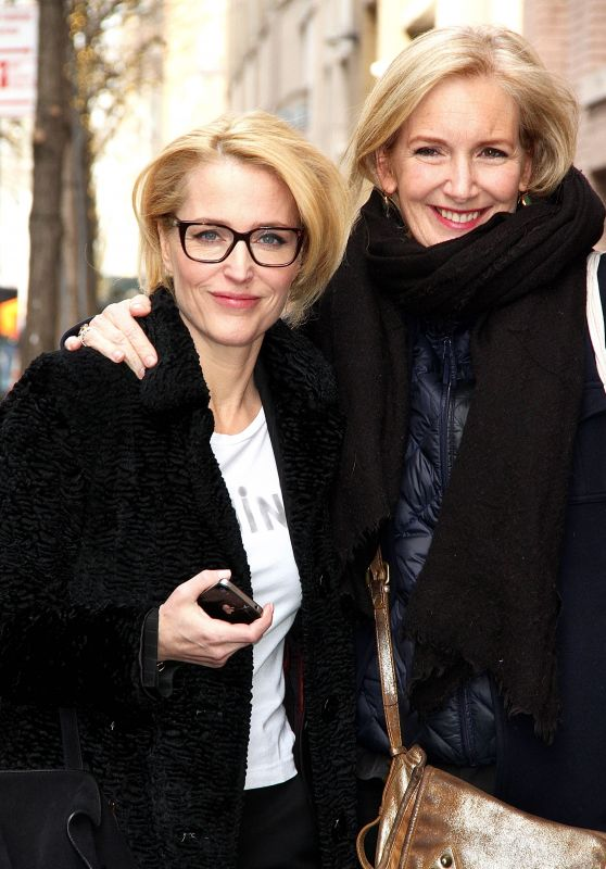 Gillian Anderson and Jennifer Nadal Arriving to AOL Build Studios in NYC 3/13/ 2017