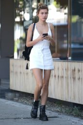 Hailey Baldwin Shows Off Her Toned Legs in a Short Dress at Aflred