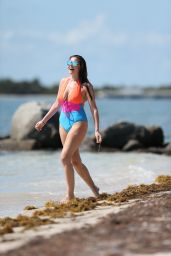 Imogen Thomas Frolics in Swimsuit on a Beach in Miami 3/30/2017