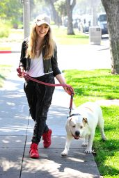 Jade Pettyjohn With Her Dog Chops in Los Angeles, CA 3/15/ 2017