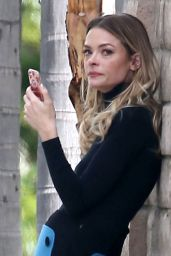 Jaime King With Tears in Her Eyes - Waits For a Ride in Los Angeles 3/10/ 2017
