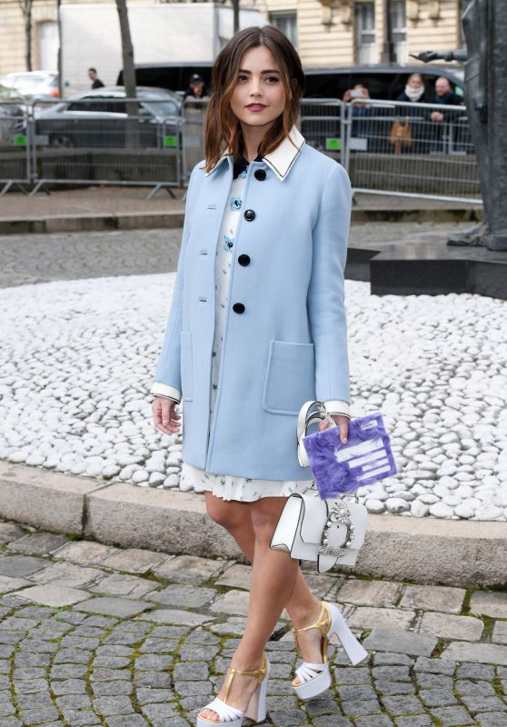 Jenna Coleman at Paris Fashion Week - Miu Miu Show 3/7/ 2017