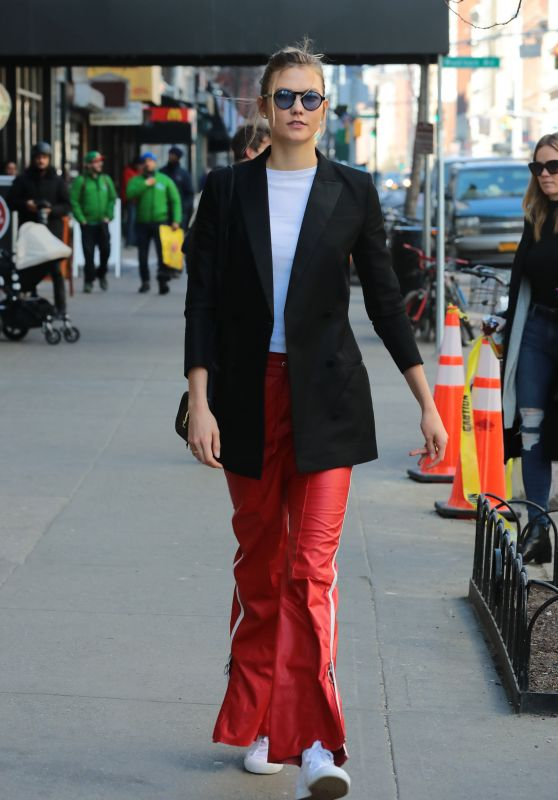 Karlie Kloss in Red Sport Pants - New York City 3/6/ 2017