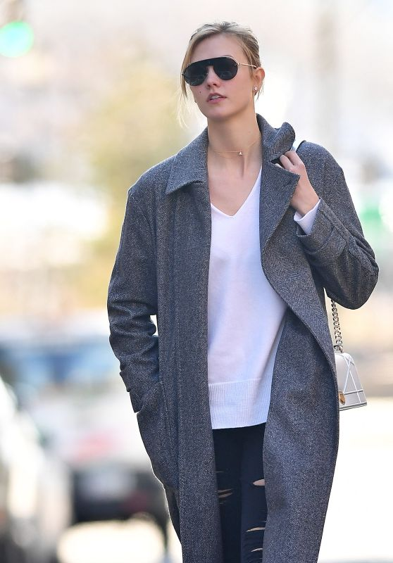 Karlie Kloss - Wearing a Grey Coat in New York City 3/5/ 2017