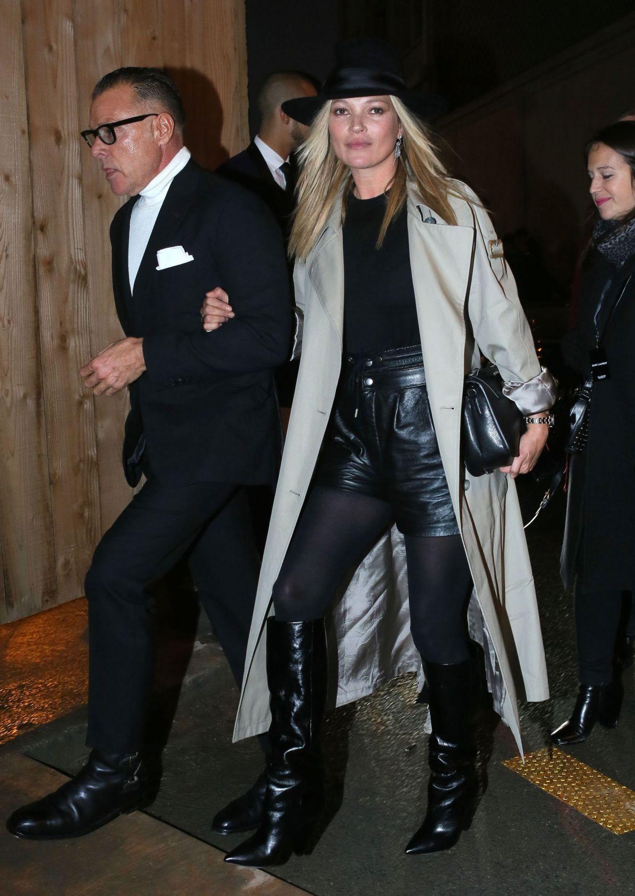 Kate Moss at Paris Fashion Week – Saint Laurent Show ...