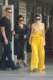 Kendall Jenner in a Yellow Silk and White Lace Top - Out in LA 3/15/ 2017