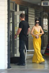 1426e8a3c59ca2 Kendall Jenner in a Yellow Silk and White Lace Top - Out in LA 3 15  2017