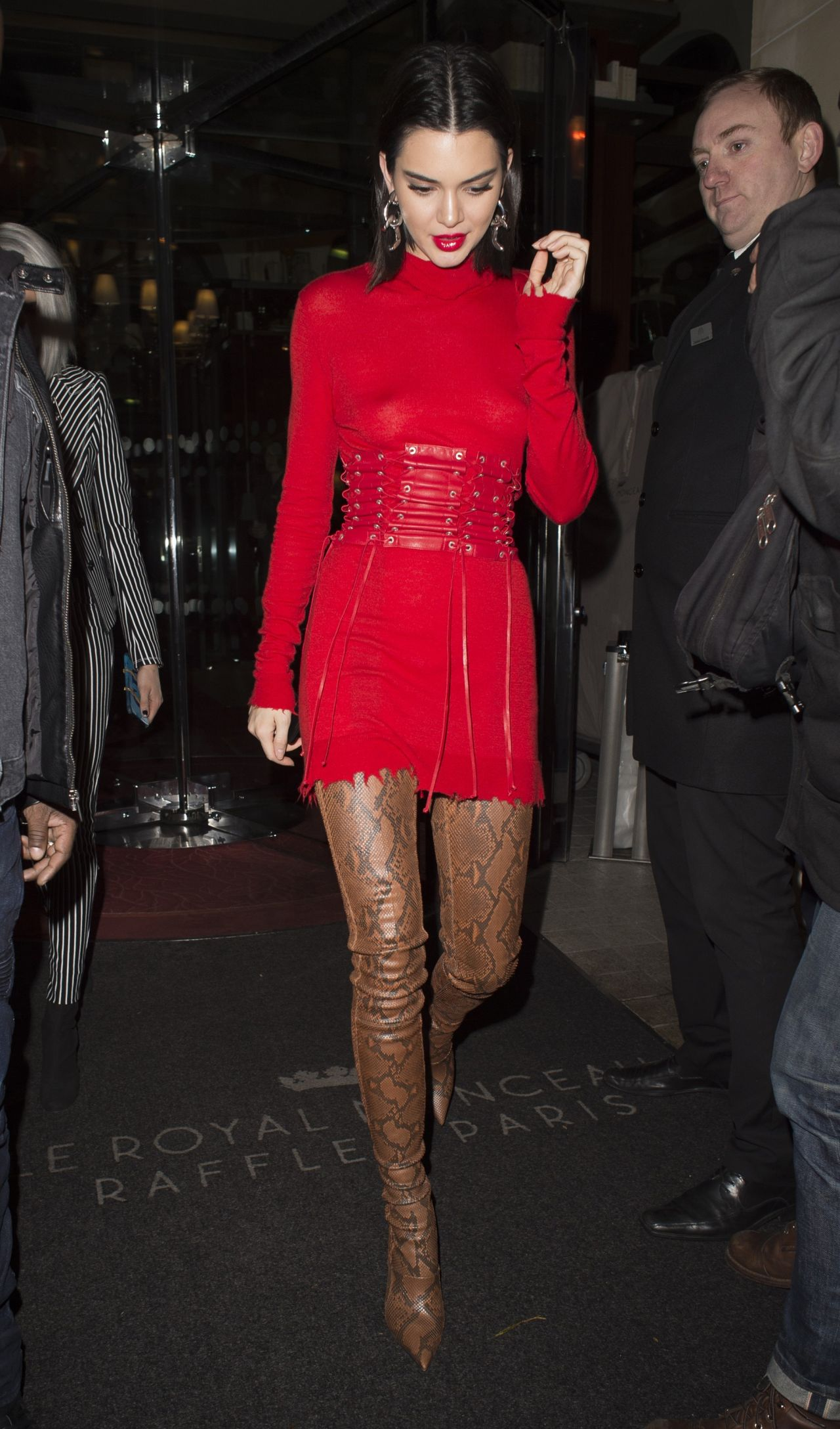 Kendall Jenner Wearing A Red Dress Out In Paris 3 4 2017