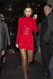 Kendall Jenner Wearing a Red Dress - Out in Paris 3/4/ 2017