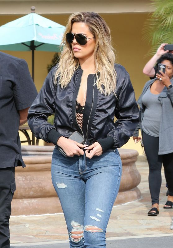 Khloe Kardashian in Ripped Jeans - Westlake Village 3/10 /2017