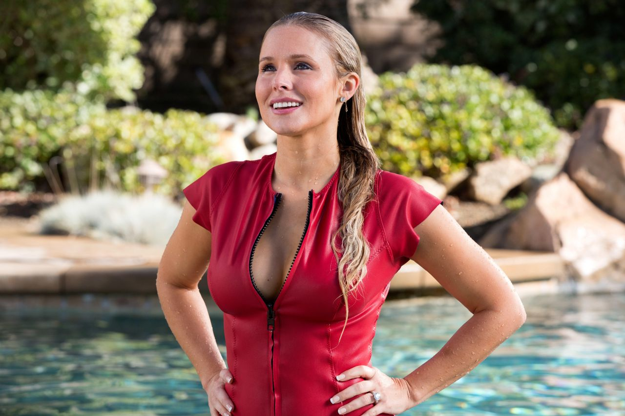 Kristen Bell Chips Promo, Sexy Red + Cleavage