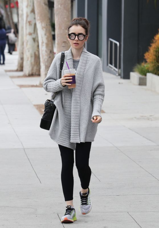 Lily Collins in a Grey Granny Sweater - Los Angeles 3/20/ 2017