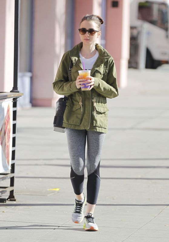 Lily Collins in Tights - After a Workout in Beverly Hills 3/9/ 2017
