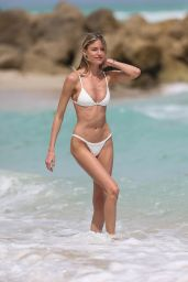 Martha Hunt in White Bikini on Miami Beach 3/25/ 2017
