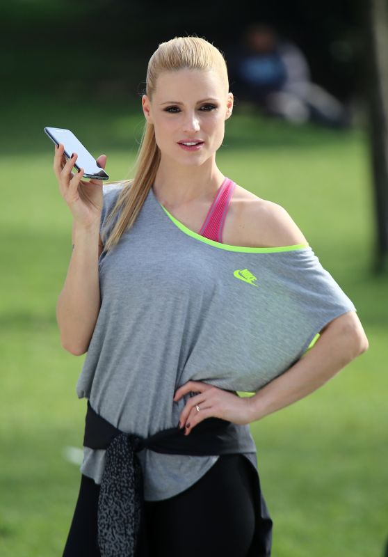 Michelle Hunziker - Shooting an Advert in a Park in Milan, Italy 3/14/ 2017