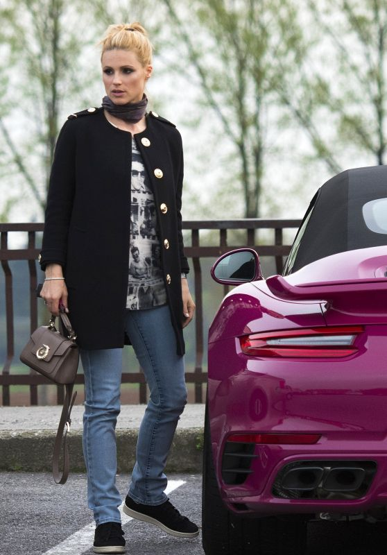 Michelle Hunziker With Her Brand New Pink Porsche in Milan 3/24/ 2017
