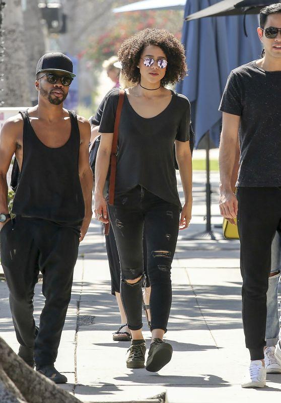 Nathalie Emmanuel Wearing Black Dune London Platforms - Los Angeles 3/13/ 2017