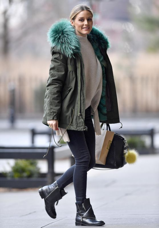 Olivia Palermo Wearing a Green Jacket and Black Boots - Brooklyn 3/11/ 2017