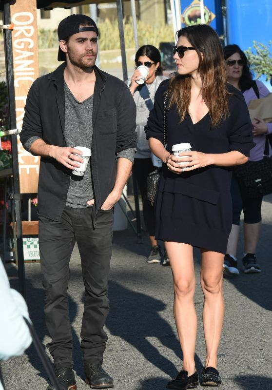 Paul Wesley & Phoebe Tonkin at the Farmers Market in LA 3/19/ 2017