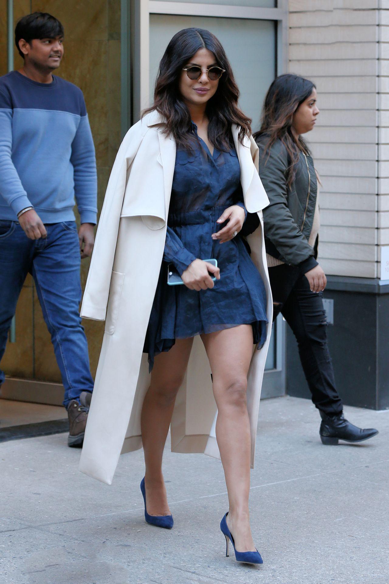 Priyanka Chopra In A Little Blue Lace Dress Winter Day