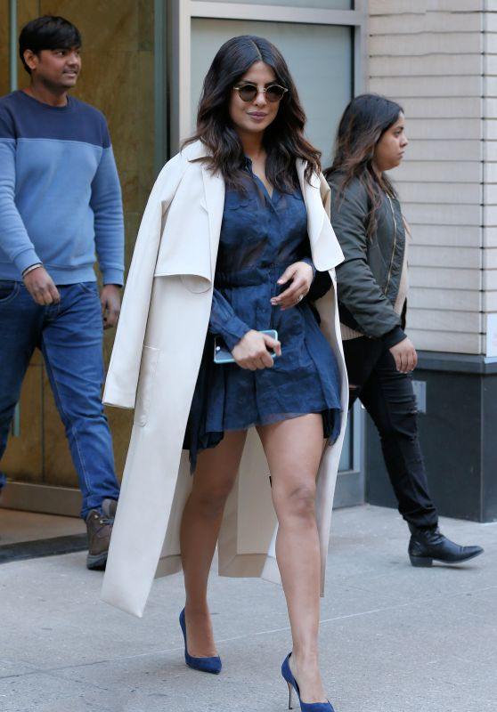 Priyanka Chopra in a Little Blue Lace Dress - Winter Day in NYC 3/13/ 2017