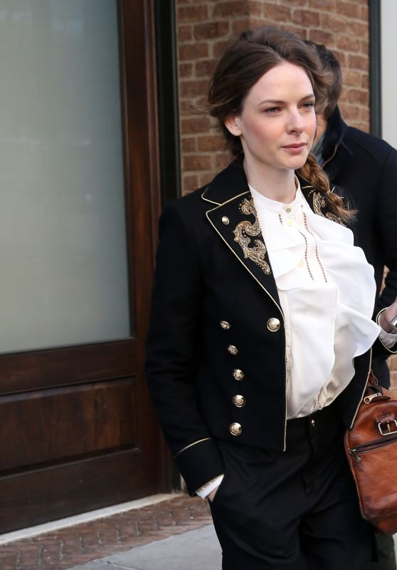 Rebecca Ferguson in a Navy Embroidered Coat - New York City 3/20/ 2017