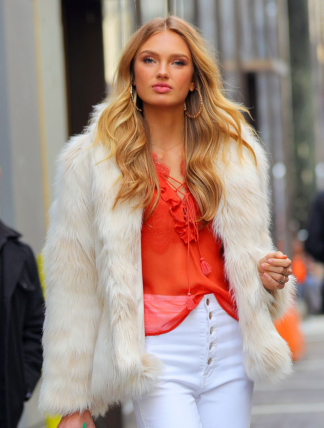 romee strijd in a fur jacket in new york city 2 28 2017. Black Bedroom Furniture Sets. Home Design Ideas
