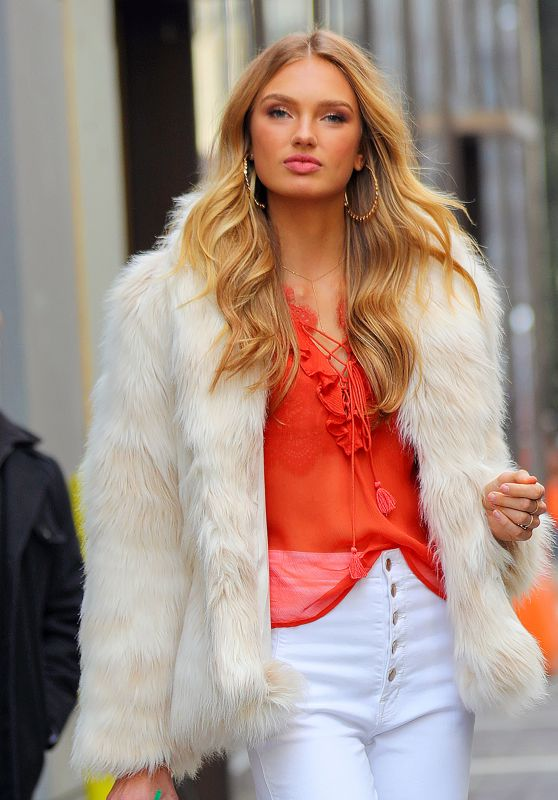 Romee Strijd in a Fur Jacket in New York City 2/28/ 2017