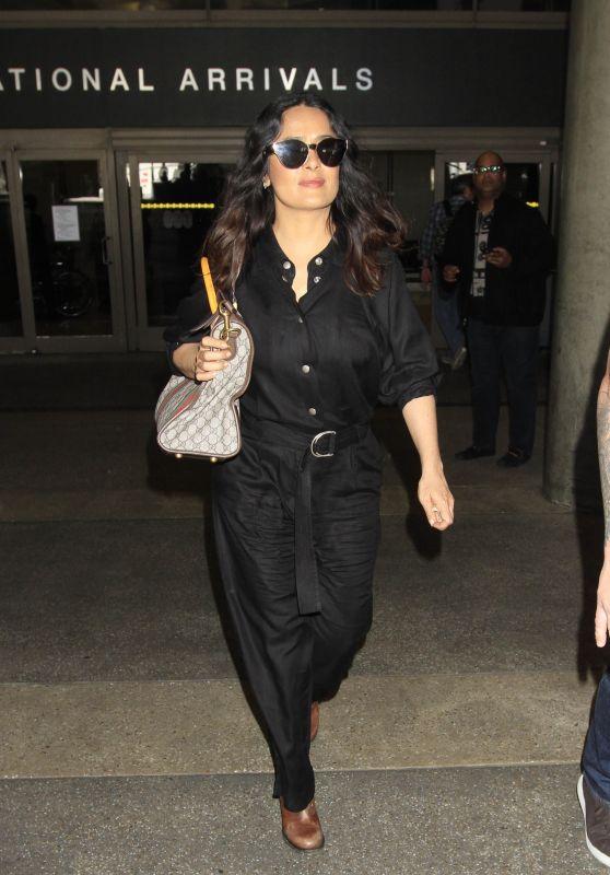 Salma Hayek Dressed in a Black Jumpsuit  - Arrives in LA 3/28/2017
