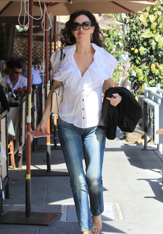 Sofia Milos Looking Chic in a White Blouse and Jeans  - Beverly Hills 3/8/ 2017