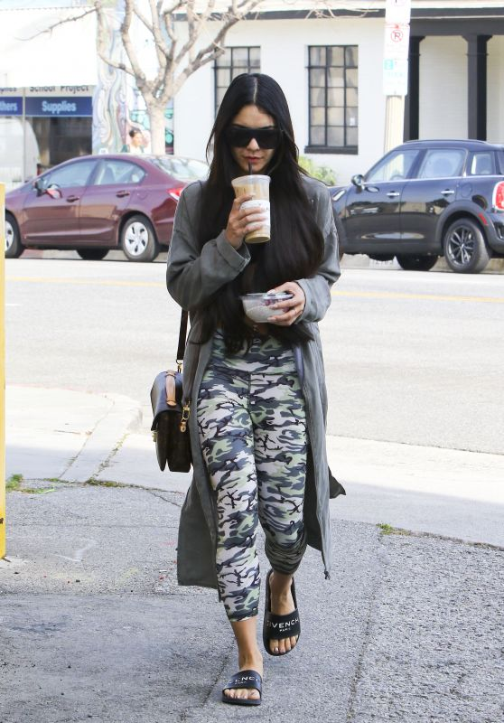 Vanessa Hudgens in Tights - Grabs a Coffee Drink in LA 3/17/ 2017