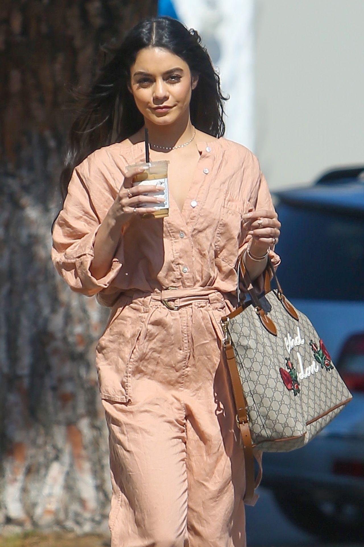 Vanessa Hudgens Wearing a Salmon Jumpsuit - Los Angeles 3 ...