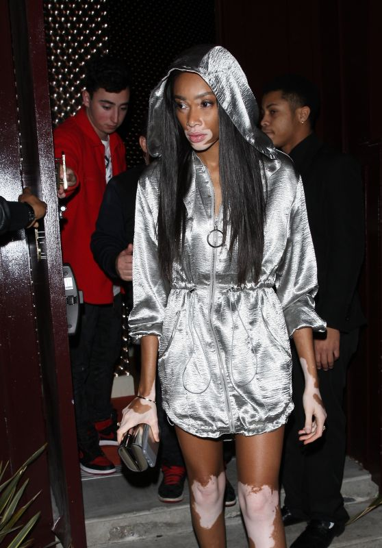 Winnie Harlow Wears a Silver Gleaming Outfit - Peppermint Club in West Hollywood 3/9/ 2017