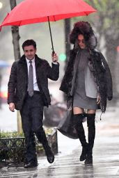 Adriana Lima in the Rain - Going to a Business Meeting in NYC 4/19/2017