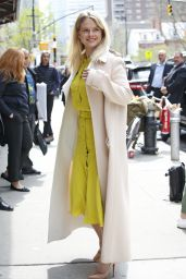 Alice Eve in a Lemon Colored Dress and Peach Coat - New York City 4/20/2017
