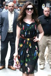 Anne Hathaway Wearing a Dress and Plaid Purse - New York 4/17/2017