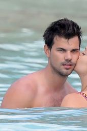 Billie Lourd and Beau Taylor Lautner at a Beach in St Barts 4/6/2017