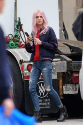 """Cara Delevingne - On Set of """"Life In A Year"""" in Toronto, Canada, April 2017"""