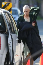 """Cara Delevingne With a Shaved Head on the Set of """"Life in a Year"""" in Toronto 4/24/2017"""