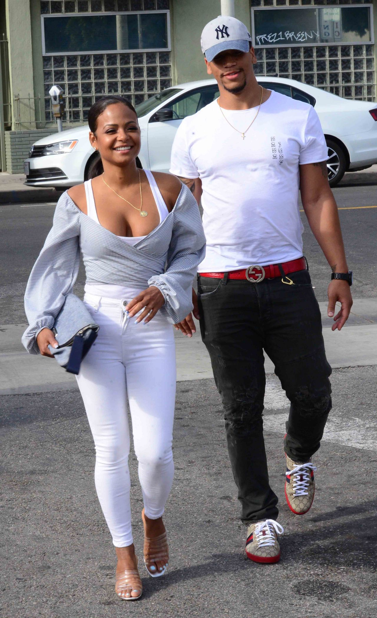 Christina Milian in Casual Attire at the Stout Restaurant ...