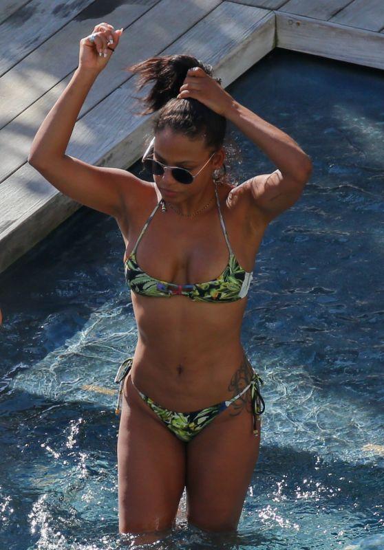 Christina Milian Wearing a Bikini at a Pool - Hawaii 3/31/2017