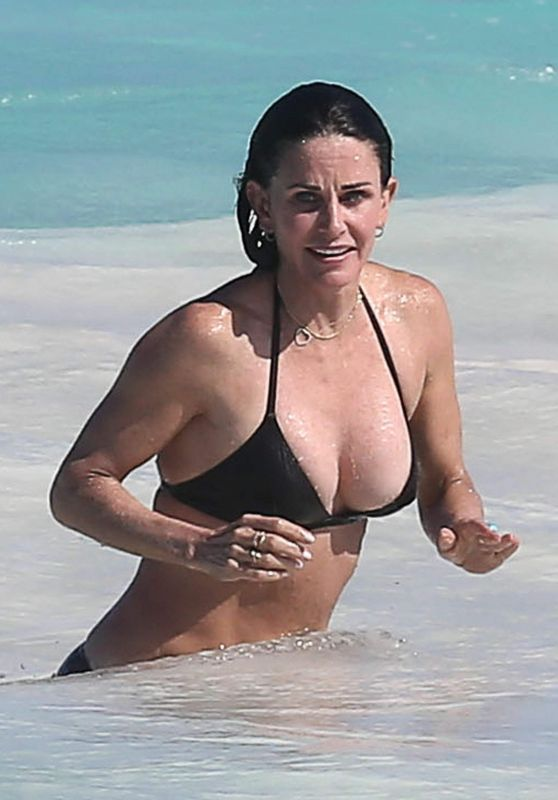 Courteney Cox in Bikini at the Beach in the Bahamas, April 2017