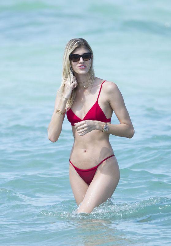 Devon Windsor in Red Bikini on the Beach in Miami 04/28/2017