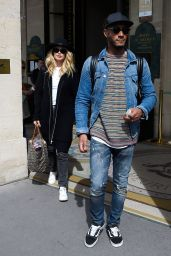 Doutzen Kroes and husband Sunnery James leaving the Meurice Hotel in Paris, April 2017