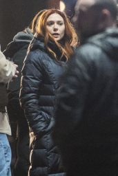 Elizabeth Olsen - Avengers: Infinity War Set in Edinburgh, Scotland 4/2/2017