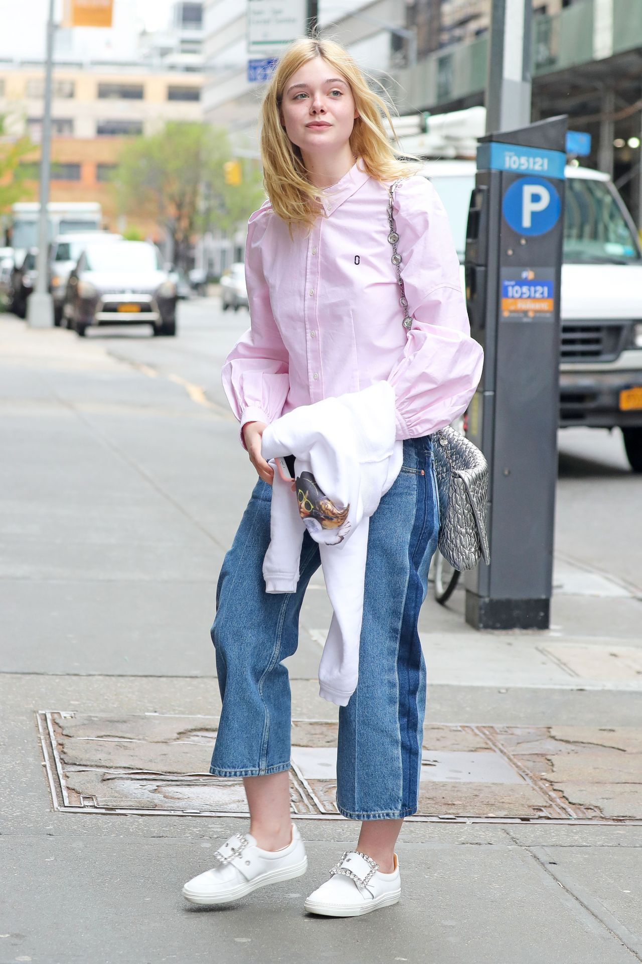 Elle Fanning Street Style - Heading to the Studio in SoHo, NYC 4/22/2017