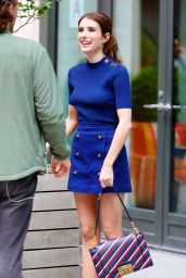 Emma Roberts in a Royal Blue Outfit - New York 4/20/2017
